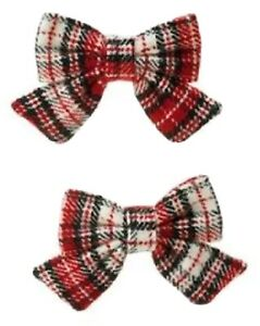 NWT Gymboree Red HOLIDAY PICTURES PLAID BOW CLIPS,HAIR ACCESSORY,Vintage ⭐⭐⭐⭐⭐