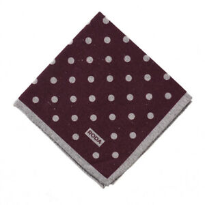 NWT RODA Burgundy and Gray Dot Print Wool-Silk Pocket Square