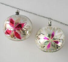 Set 2 Ball Flower Vintage Xmas Decor Christmas Russia Glass Silver Ornament Ussr