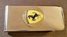 "FERRARI PRANCING HORSE S F SHIELD Logo Stainless Steel Money Clip 2 3/8"" X 1"""