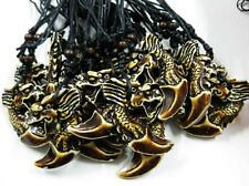 10 PCS Vintage Men's Mythology Amulet Coffee Color Dragon Fashion Necklace
