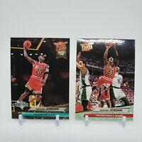 (2) 1992-93 FLEER ULTRA MICHAEL JORDAN #27 & #216 NBA Jam Session Dunk Rank