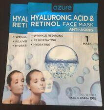 Set Of (2) K-Beauty AZURE Hyaluronic Acid and Retinol Anti-Aging Face Masks