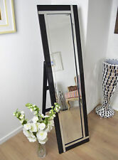 Large Modern Design Double Black Edge Standing Cheval Mirror 5ft X 1ft3