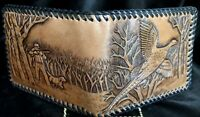 !!!!Amazing New 1960s Tooled Mens Wallet WithHunt Scene And Laced Stitching!!!!