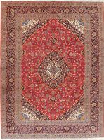EXCELLENT Vintage Traditional Floral VIBRANT RED Area Rug Hand-made Wool 10'x13'