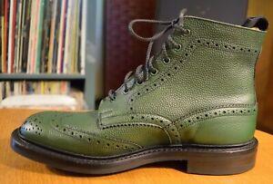 NIB TRICKERS STOW BOOTS IN GREEN SCOTCH GRAIN SZ UK 8 US 9