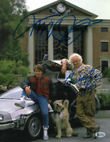 MICHAEL J FOX CHRISTOPHER LLOYD SIGNED BACK TO THE FUTURE 11x14 PHOTO BAS COA 1