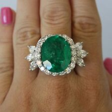 3.30ct Emerald Cut Green Gemstone 925 Sterling Silver Halo Engagement Ring