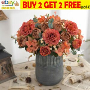 Vintage Artificial Fake Peony Silk Flowers Retro Bouquet Wedding Home Decor SW