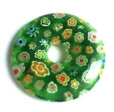 Dark Green Coloured Millefiori Glass Donut Pendant -  Size 35mm.