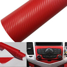 Red 2pcs 125*30CM 3D Carbon Fiber Vinyl Car Wrapping Foil Carbon Sticker