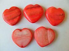5 MOP De Madre Perla Concha de 30mm de Coral Salmón Rosa Colgante de corazón perlas Valentine