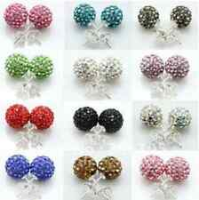 10mm 40 pair/lot mixed white Silver Plated studs crystal shamballa earrring