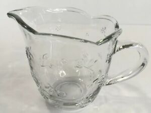 Anchor Hocking Savannah Clear Glass Creamer Flower Embossed 1 Cup Made In USA