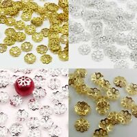 500pcs Gold/Silver Plated Metal Filigree Flower Bead Caps Jewelry Findings 6mm