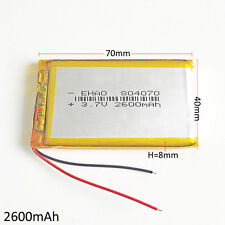 3.7V 2600mAh 804070 LiPo Polymer Rechargeable Battery For Mobile phone recorder