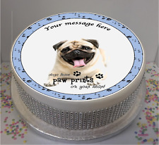 "Personalised Laughing Pug Dog  7.5"" Edible Icing Cake Topper birthday puppy"