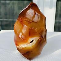 Natural red agate torch polished quartz crystal specimen healing 407g