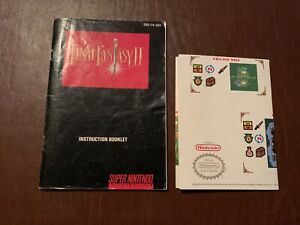 SUPER NINTENDO FINAL FANTASY II 2 SNES INSTRUCTION MANUAL & POSTER ONLY