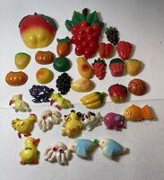A2 Vintage Refrigerator Magnets Lot  Fruit Basketball Fish Octopus Dog Bird