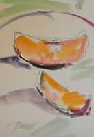 JOSE TRUJILLO ORIGINAL Watercolor Painting Expressionism 6X9 Cantelope Melon Art
