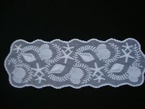 """White Lace Tidepool design Table Runner 39"""" x 13"""""""