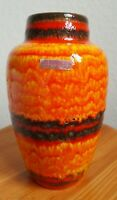 Vase von Scheurich Orange Schwarz Rot  West German Pottery gestreift Fat Lava 70