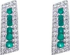 14K White Gold Round Emerald & Diamond Euro Back Earrings