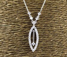 Round Diamond Marquise Shape Cluster Necklace Pendant 14K White Gold .75Ct