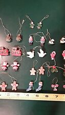 Christmas ornaments set of 26 miniature ceramic trees, ginger bread men, stockin