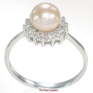 Solid Sterling Silver .925 Pink Cultured Pearl Ring w/ Cubic Zirconia Accent TPJ
