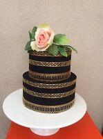 EDIBLE 7 large sugar laces RIBBONS Wedding Anniversary BabyShower Birthday CAKE