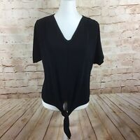 Chico's Travelers Womens Black Front Tie Top Blouse Size 1 (Medium)