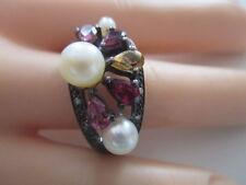 Bague Argent ° 925 ° perle/diverses pierres ° Argent Bijoux ° old silver °