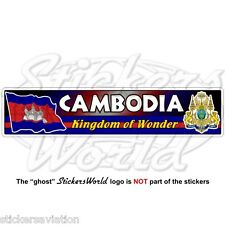 CAMBODIA Cambodian Flag-Royal Arms National Emblem Kampuchea Vinyl Sticker Decal