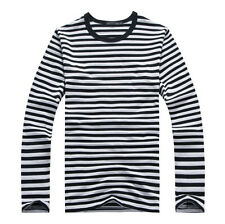 Men's Long Sleeves Casual Shirt Military Navy Crew Neck Striped T Shirt Tops