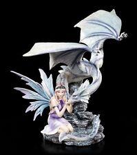 Elves Figurine - Belia with Blue Dragon - Winter Fairy Ice Fairy Statue Fantasy