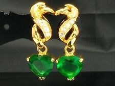 18ct Gold Plated Green Faux Emerald Heart Earrings Mum Prom Mehendi Gift