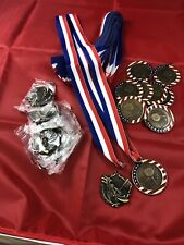 Golf medals with  Red White And Blue straps.