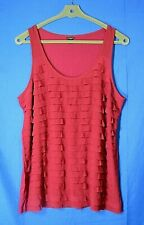 ANN TAYLOR Layered CHIFFON PETAL RUFFLES Jersey Knit Top DARK RASPBERRY PINK XL
