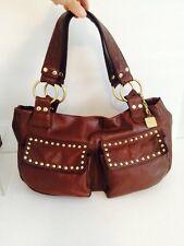 Kenneth Cole Reaction Brown Leather Studded Shoulder Bag Purse