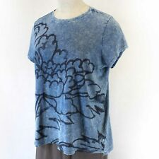 NEW Lucky Brand Plus Size Mineral Wash Denim Blue Cotton Floral T-shirt Top 3X