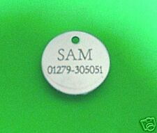 cat disc pet id tag small dog horse engraved 22mm - 2 TAGS FOR £1.99