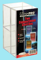 ULTRA PRO TWO COMPARTMENT CLEAR CARD STORAGE BOX NEW Case Toploader Screwdown 2