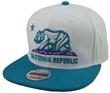 NEW CALIFORNIA REPUBLIC 3D EMBROIDERED FLAT BILL SNAPBACK CAP HAT WHITE/AQUA