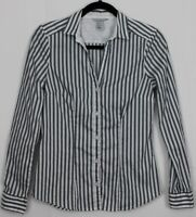 H&M Size 8 Women's Top Long Sleeve Fitted Oxford Gray & White Stripes