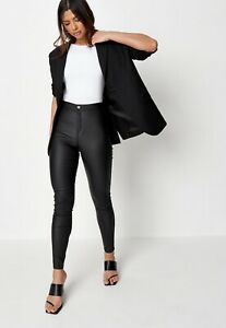 Missguided Womens Black Vice High Waisted Coated Skinny Jeans Uk 14R