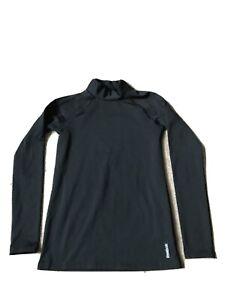 Reebok Black Shiny Spandex Playwarm Atheltic Top Child Large (12-14) Long Sleeve