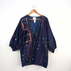 Play Alegre Hand Painted Jacket One Size Women's Blue Art To Wear 3/4 Sleeves